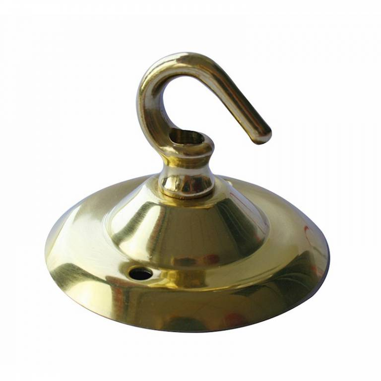 Brass Plated Ceiling Hook & Plate