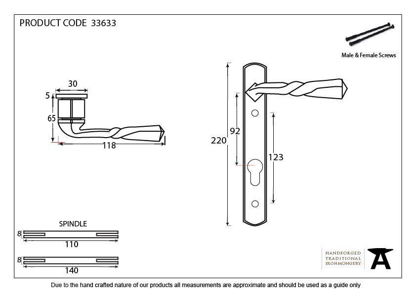Narrow Lever Espag. Lock Set