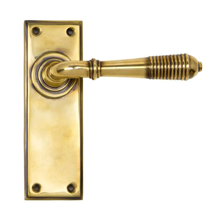Aged Brass Reeded Lever Latch Set
