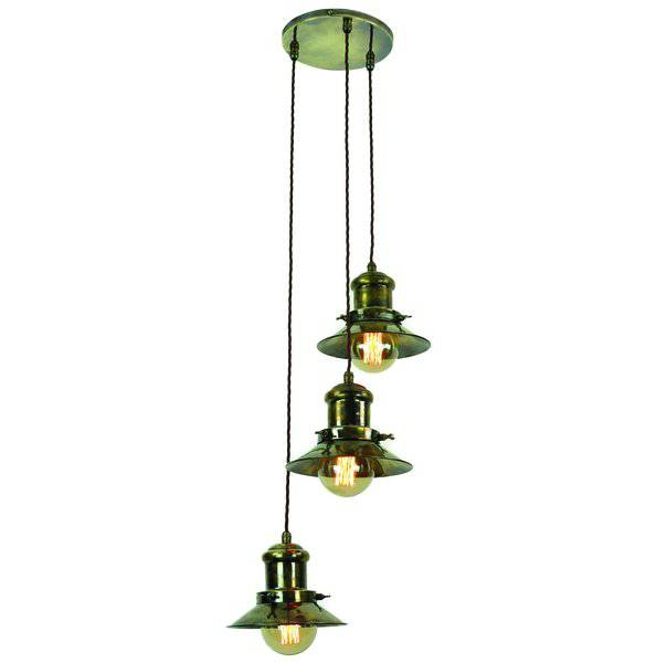 Edison (Small) 3 Light Cluster Antique Brass (1900-1-C3